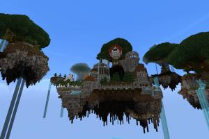 waterfall minecraft floating island screen shot video games