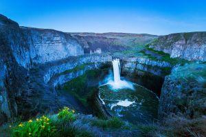 waterfall nature landscape rock