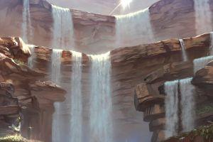 waterfall rock water touhou nature artwork moriya suwako anime