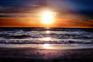 waves beach horizon sea sky sunset