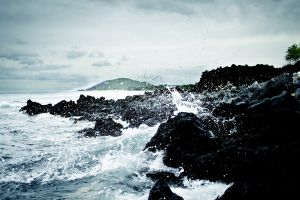 waves coast rock sea