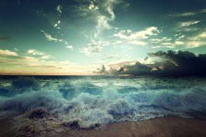 waves sea horizon sky nature clouds