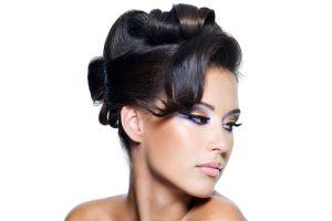 wavy hair model face women brown eyes dark hair looking away