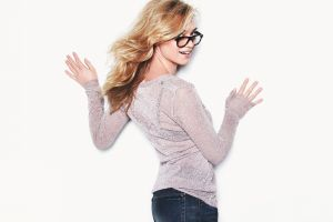 wavy hair women blonde yvonne strahovski glasses see-through clothing sweater jeans white background long hair women with glasses