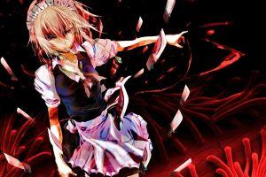 weapon anime girls anime blonde izayoi sakuya touhou knife