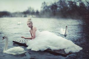 wedding dress loneliness women bare shoulders blonde brides women outdoors model hairbun