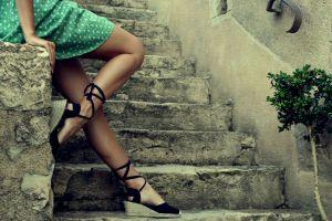 wedge shoes model stairs dress women outdoors green dress high heels women legs