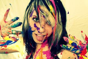 white background colorful teeth women dyed hair tongues body paint blue eyes
