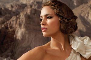 white dress green eyes looking away brunette model irina shayk women