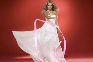 white dress sylvie meis women ribbon model gray eyes