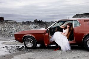 white dress wedding dress women with cars red cars car ford mustang
