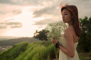 white dress women windy asian bouquets brunette women outdoors