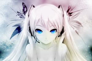 white hair looking at viewer twintails blue eyes vocaloid hatsune miku headphones anime