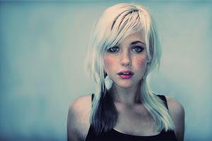 white hair simple background lipstick freckles devon jade portrait women devon jade blonde looking at viewer open mouth face eyeliner