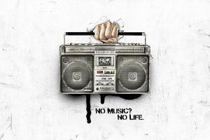 white hands digital art typography artwork tape recorder life music