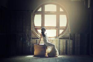 window long hair boxes model women white dress brunette