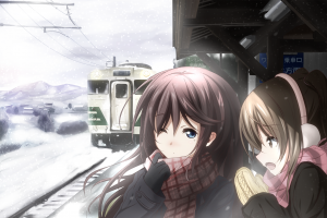 winter anime girls train station cold