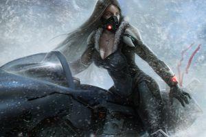 winter futuristic vehicle necklace cyberpunk artwork women