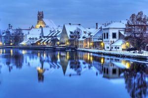 winter house cityscape city
