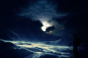 winter night digital art nature
