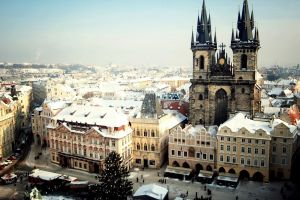 winter prague cityscape