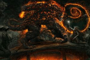 wizard demon balrog the lord of the rings fantasy art