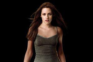 women actress kristen stewart long hair simple background