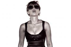 women actress women with shades short hair monochrome scarlett johansson