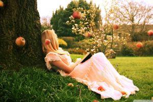 women apples white dress lying down fantasy girl women outdoors