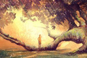 women artwork fantasy art trees sunlight nature anime girls