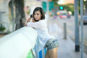 women asian jean shorts model women outdoors urban