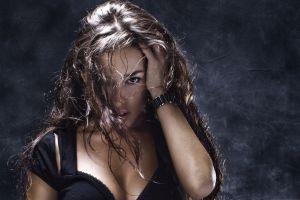 women black outfits face long hair model brunette