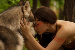 women brunette fantasy girl forest animals nature wolf fantasy art