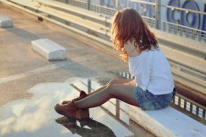 women brunette model urban jean shorts outdoors women outdoors