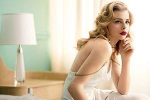 women celebrity actress white dress green eyes lamp looking away wavy hair long hair red lipstick chloë grace moretz blonde