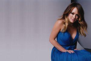 women celebrity blue dress smiling hilary duff dress cleavage brunette
