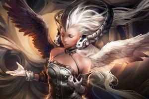 women cgi angel wings gloves closed eyes white hair artwork digital art fantasy art sakimichan