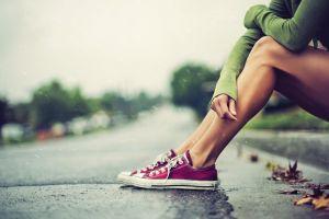 women converse legs leaves rain women outdoors