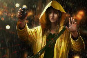 women crying artwork sad hoods yellow raincoat grenades arms up rain