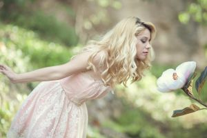 women curly hair flowers pale blonde dress white flowers