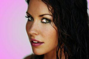 women dark hair portrait evangeline lilly actress face