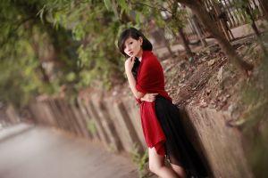 women dark hair urban asian brunette