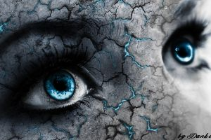 women digital art fantasy art eyes blue eyes