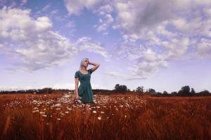 women dress field sky clouds flowers