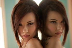 women elizabeth marxs brown eyes brunette reflection looking at viewer face