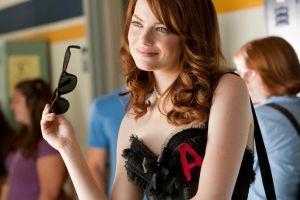 women emma stone easy a movies redhead glasses model