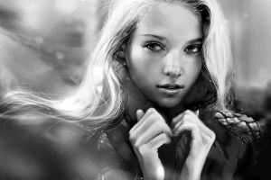women face digital art hands