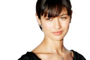 women face green eyes necklace necks model brunette actress olga kurylenko