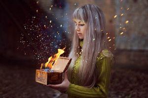 women fantasy art fire model long hair fantasy girl