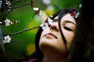 women flowers twigs white flowers